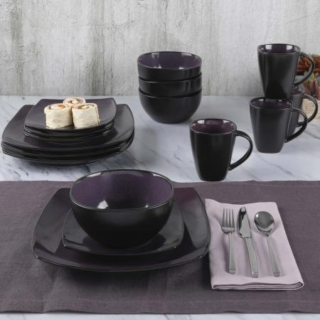 Gibson Elite Soho Lounge 16 Piece Dinnerware Set - Purple