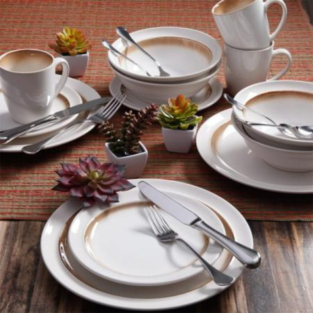 Gibson Elite Lawson Brown 16-Piece Dinnerware Set