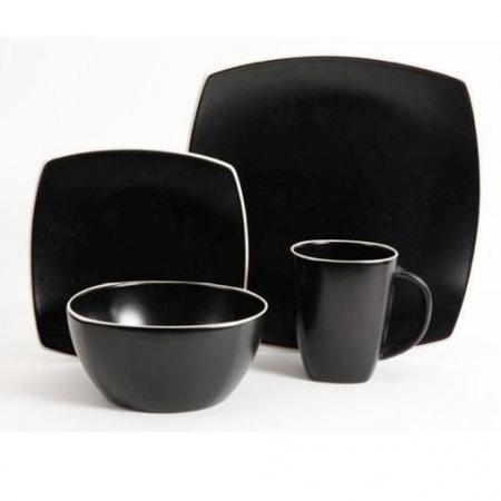 Gibson Soho Lounge Matte Black 16-Piece Dinnerware Set
