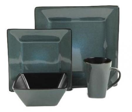 Gibson Kiesling Teal Blue 16 Piece Dinnerware Set