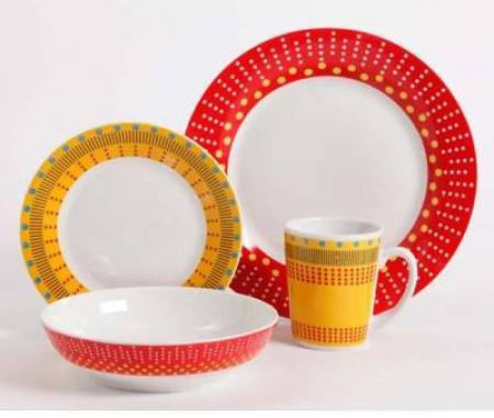 Gibson Home Lockhart Red U0026 Yellow 16 Piece Dinnerware Set