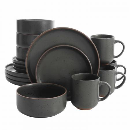 Gibson Elite Black Sand 16 Piece Terracotta Dinnerware Set