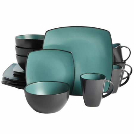 Gibson Elite Soho Lounge 16 Piece Dinnerware Set - Matte Teal