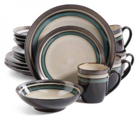 Gibson Lewisville Teal 16-Piece Dinnerware Set