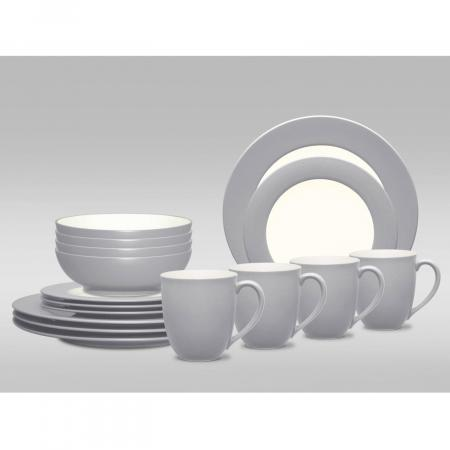 Noritake Colorwave Slate Rim 16-Piece Dinnerware Set