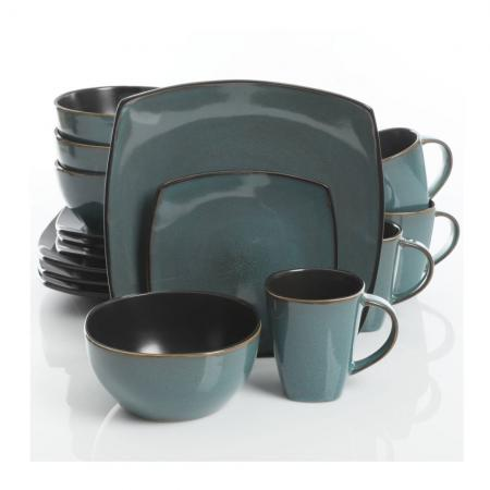 Gibson Soho Lounge Teal 16-Piece Dinnerware Set