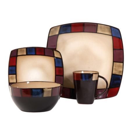 Gibson Elite Soho Lounge Mosaic 16 Piece Dinnerware Set