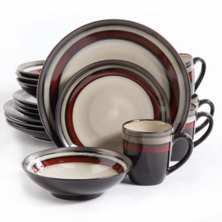 Gibson Lewisville Red 16-Piece Dinnerware Set