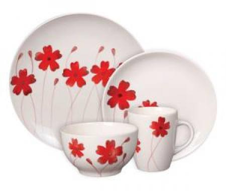 Wonderful Gibson Home Hand Painted Ohara Red Dinnerware Set