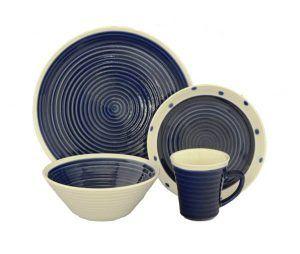 Sango Rico Blue Stoneware Dinnerware Set